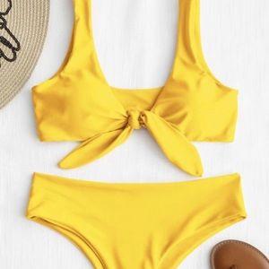 Yellow ZAFUL padded bikini size 6